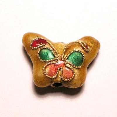 emaille parel bloem vlinder geel 10 x 14 mm