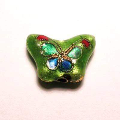 emaille parel bloem vlinder groen 10 x 14 mm