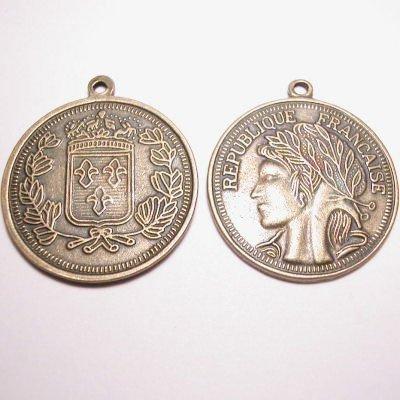 metalen munt rep.francaise antiek goud 29 mm