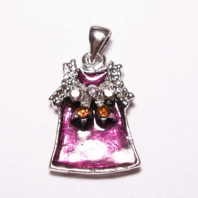 emaille hanger jurkje paars 25mm