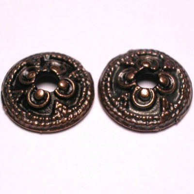 metalen kraal kapje brons 13 mm