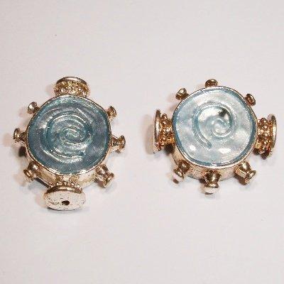 metalen kraal blauw/zilver 20 x 17 mm