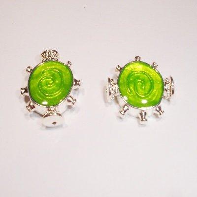 metalen kraal groen/zilver 20 x 17 mm