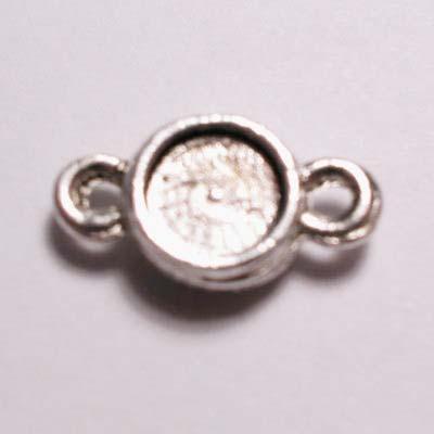 verzilverde zetting rond golf strass  6 mm