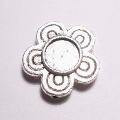 verzilverde zetting bloem strass  16 mm
