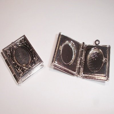 medaillon boek antiek zilver 25 x 19 mm