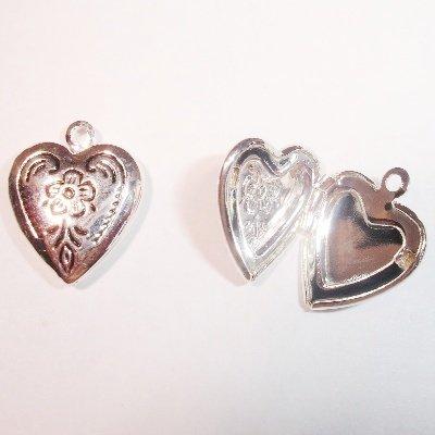 medaillon hart antiek zilver 16 x 13 mm
