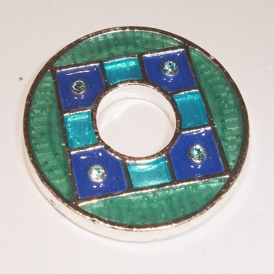 ring blauw met strass 34 mm
