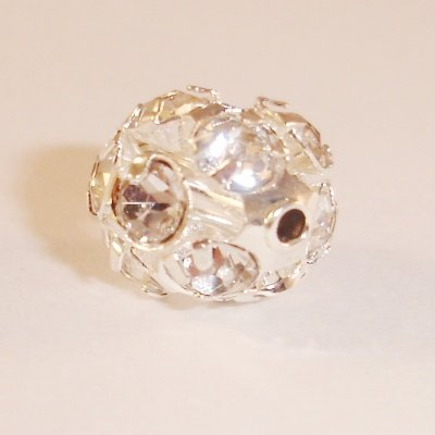 metalen strass bol 6 mm kristal