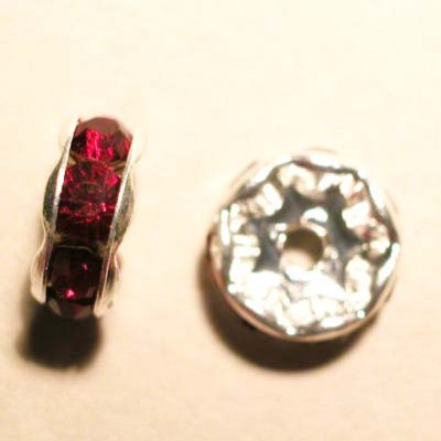 strass rondel zilver rood 8,8 mm