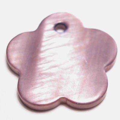 parelmoer hanger bloem paars 18 mm