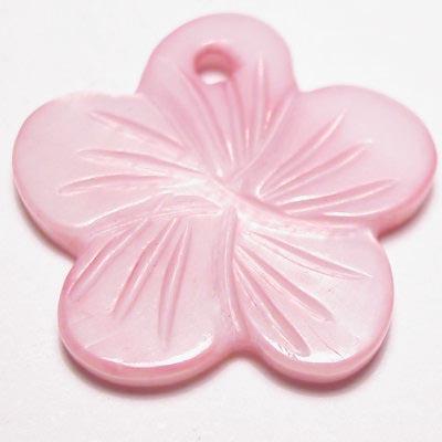 parelmoer hanger bloei rose 18 mm
