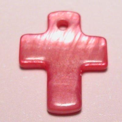 parelmoer hanger kruis fuchsia 12 mm