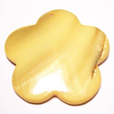 parelmoer hanger bloem geel 40 mm
