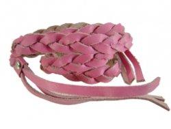 Gevlochten leren wrap armband rose