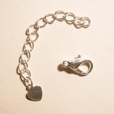 verlengketting hart met karabiner zilv. 6mm