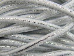 elastisch draad/stiek 3 mm wit met glimmende streep
