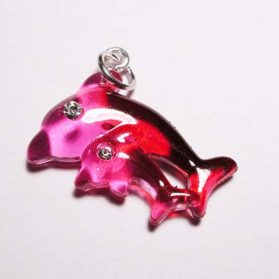acryl dolfijnen roze rood 16x22 mm
