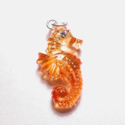 acryl zeepaardje geel oranje 15x22 mm