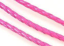 gevlochten imitatie leren koord 4,5 mm NEON roze