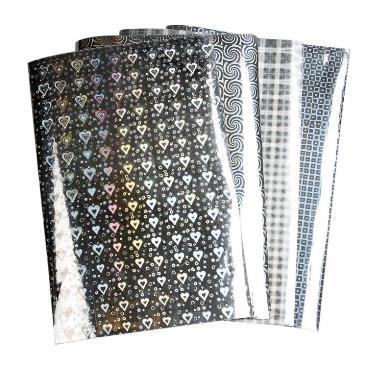 Papier holografisch zilver hartjes A4