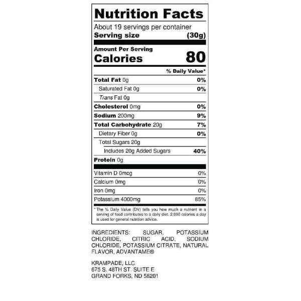 Original Krampade 4K Reduced Sugar Nutrition Label Low Sugar High Potassium