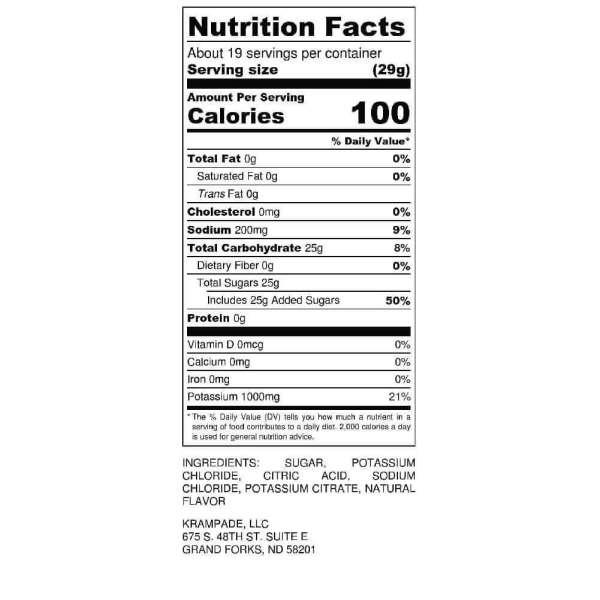 Krampade 1K Nutrition Label High Potassium