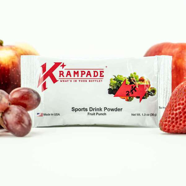 Krampade Original 2K fruit punch flavor, single serving packet, 2000 mg of potassium per serving, designed for athletes as an alternative sports drink to traditional sports drinks