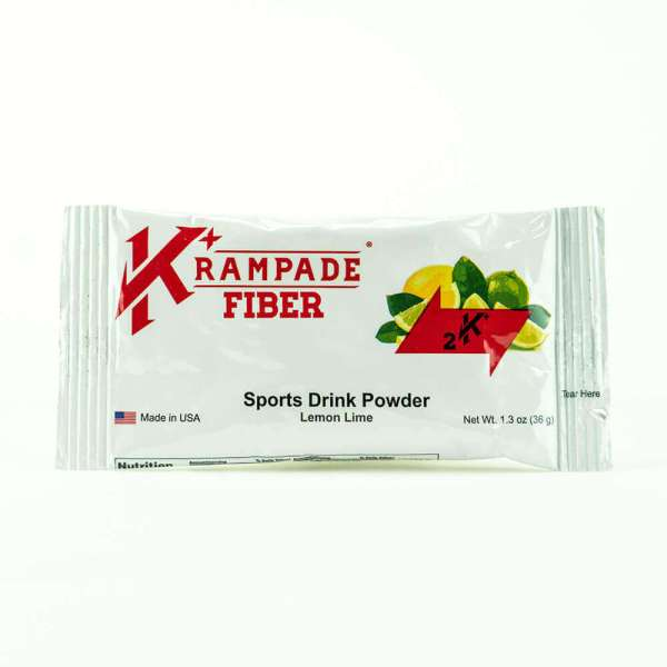 Krampade Fiber 2K lemon lime flavor, single serving packet, 2000 mg of potassium per serving, 50 mg of magnesium per serving, 9 g of soluble fiber, designed for athletes as an alternative sports drink to traditional sports drinks, excellent taste and function for stopping and preventing cramp formation, fiber for improved flavor and help keep one full longer, complete nutrition