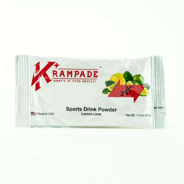 Krampade Original 2K lemon lime flavor, single serving packet, 2000 mg of potassium per serving, designed for athletes as an alternative sports drink to traditional sports drinks