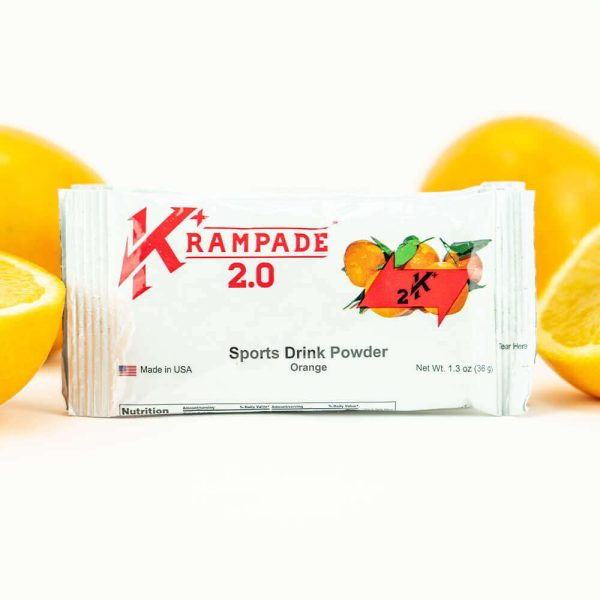 Krampade 2.0 2K orange flavor, single serving packet, 2000 mg of potassium per serving, 50 mg of magnesium per serving, designed for athletes as an alternative sports drink to traditional sports drinks, excellent taste and function for stopping and preventing cramp formation