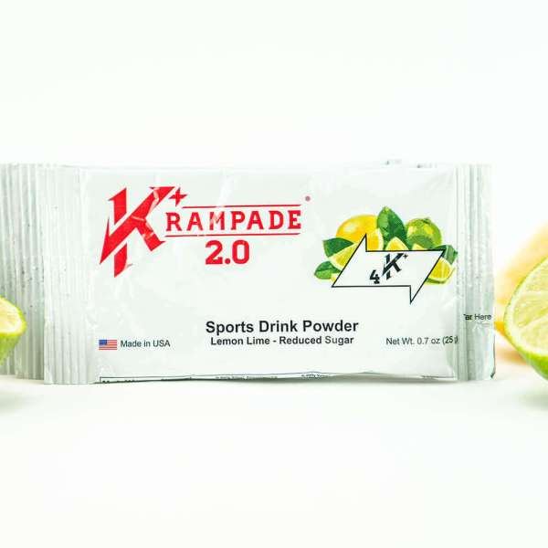 Krampade 2.0 4K reduced sugar lemon lime flavor, single serving packet, 4000 mg of potassium per serving, 60 mg of magnesium per serving, designed for acute, active cramping commonly associated with athletics and athletes, instant cramp relief, improved taste and function