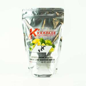 Krampade Original 4K reduced sugar lemon lime flavor, 19 serving resealable pouch, 4000 mg of potassium per serving, designed for acute, active cramping commonly associated with athletics and athletes, instant cramp relief
