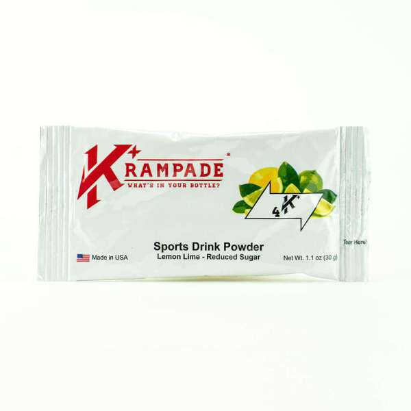 Krampade Original 4K reduced sugar lemon lime flavor, single serving packet, 4000 mg of potassium per serving, designed for acute, active cramping commonly associated with athletics and athletes, instant cramp relief