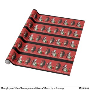 krampus naughty or nice wrapping paper