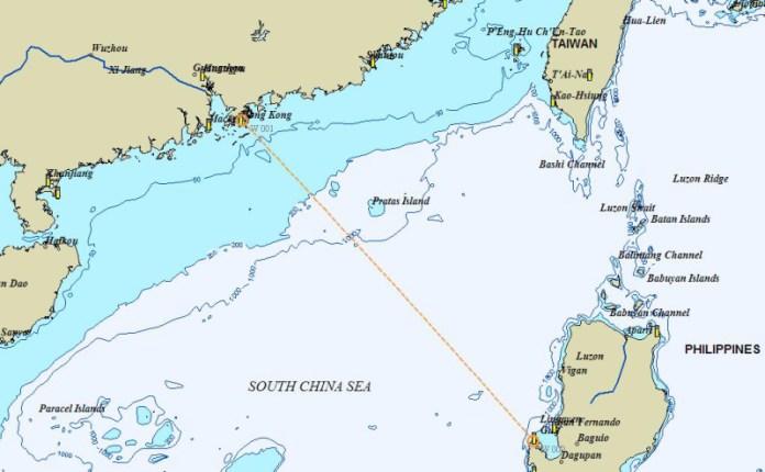 Mapka plavby Bolinao - Hongkong.
