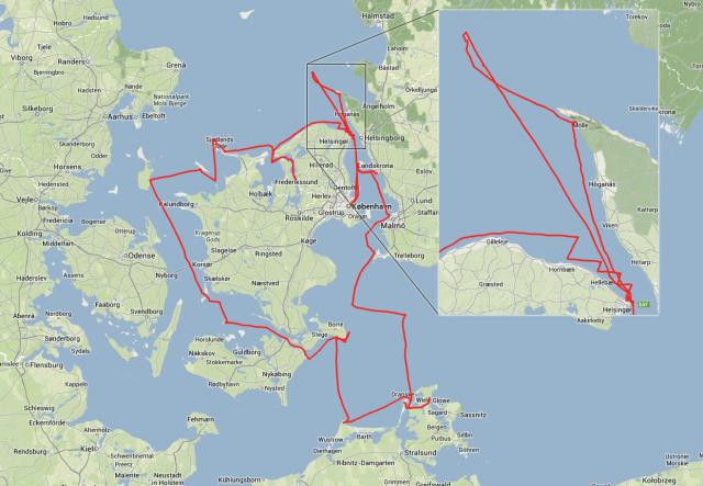 Mapa plavby kolem Dánska.
