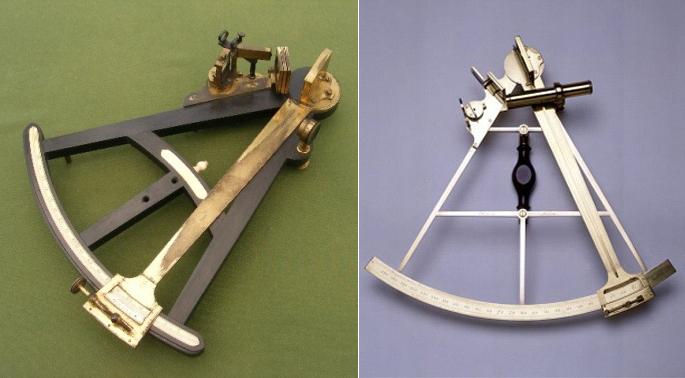 Obr. 5: Vlevo: Oktant z konce 18. století. Vpravo: Sextant používaný Cookem na jeho třetí plavbě kolem světa.