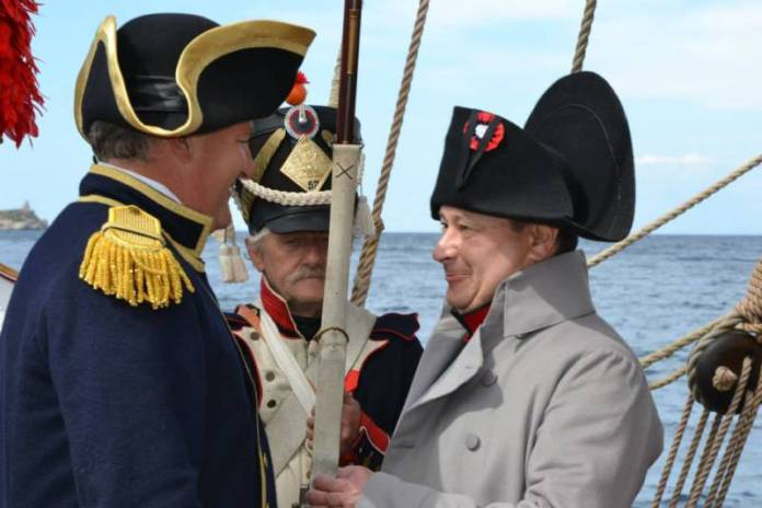 Císař Napoleon I. a kapitán lodi La Grace.