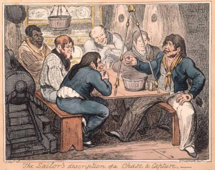 Kresba námořníků popíjejících rum.