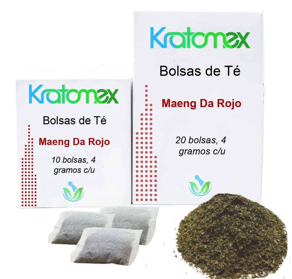 Cajas de Bolsas de Té de Maeng Da Rojo Kratom y hojas de Maeng Da Rojo Kratom