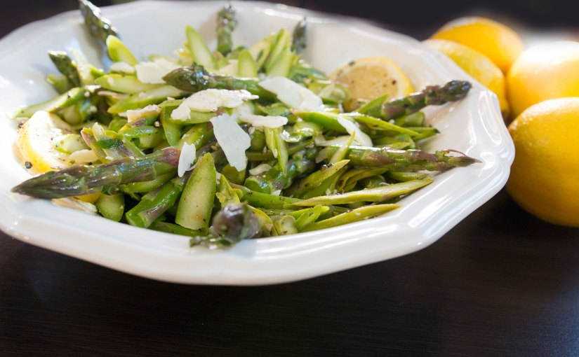 Shaved Asparagus with Parmesan & Lemon dressing