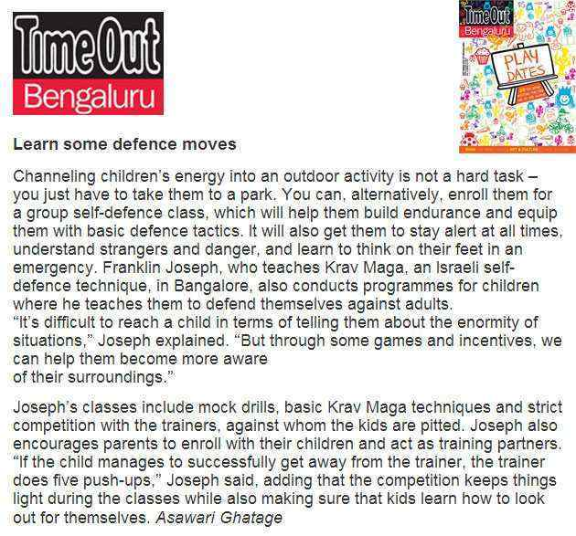 Timeout Bengaulur Self Defense For Kids Text