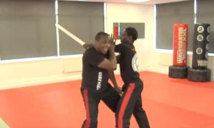 Defense against a baseball stick swing demonstration