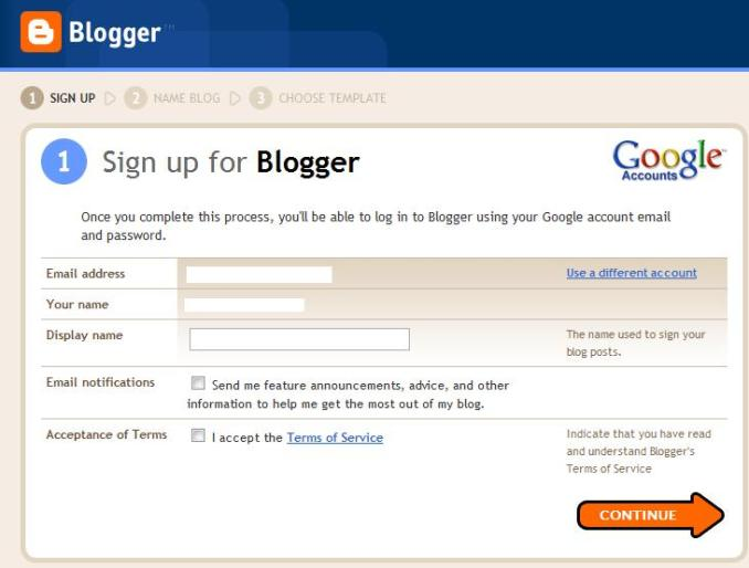 Blogger Step 2