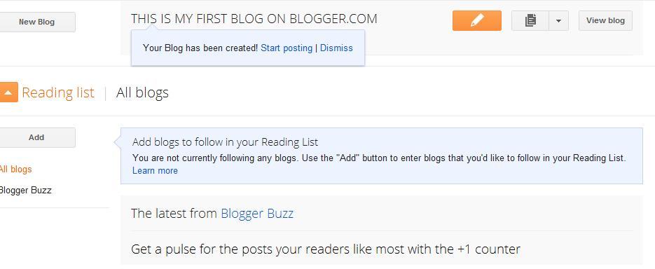 Blogger Step 5