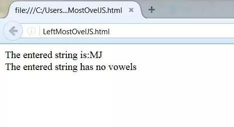 javascript to find left most vowel in the string output