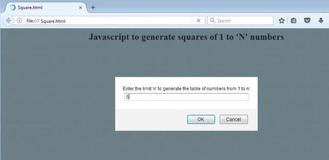 Javascript to generate squares of n numbers - Input
