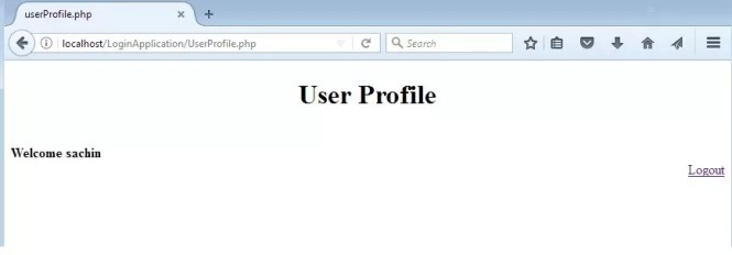 users home page in PHP login application using MySQL database