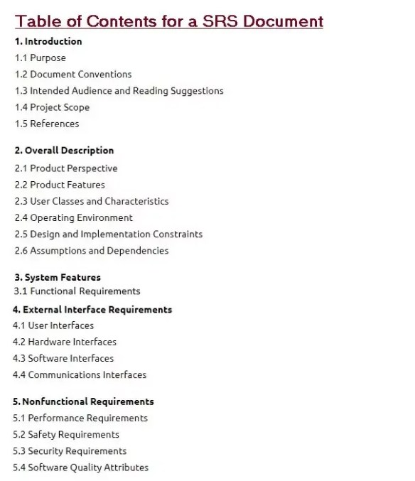 Software Requirements Specification document with example